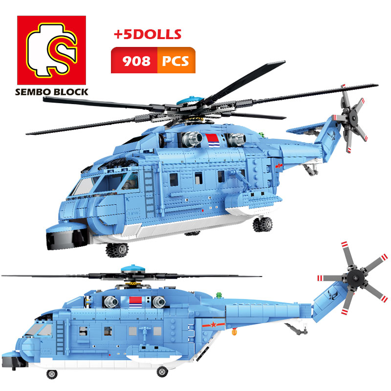 SEMBO Building Blocks Bricks Military Army Helicopter Z-9 Copter Toy 3 Figures