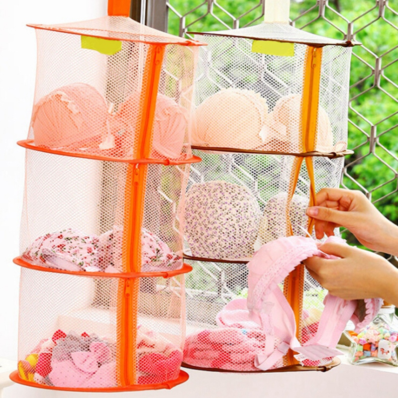 3-layer Hanging Net Mesh Storage Basket Bag Zipper Bra Drying Basket Hanging Cage Clothes Bra Drying Organizer