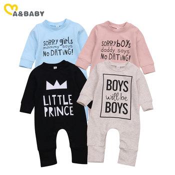 Ma amp Baby 0-24M wiosna jesień noworodek maluch Baby Boy dziewczyna kombinezon zabawny napis z długim rękawem Romper Cute Baby odzież tanie i dobre opinie ma baby COTTON Poliester CN (pochodzenie) Unisex W wieku 0-6m 7-12m 13-24m List O-neck Przycisk zadaszone Pełna baby Jumpsuit