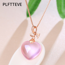 Zircon Pink Opal Heart Necklaces & Pendants For Women Rose Gold Silver Color Long Chain Female Pendant Necklace Fashion Jewelry lucky eye key lock pendant necklace rose gold silver color chain micro pave zircon necklace jewelry gift for women female ey6401