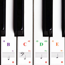 88/61/54/49 Transparent Piano Keyboard Stickers Electronic Keyboard Key Piano Stave Note Sticker Symbol for White Keys Sticker