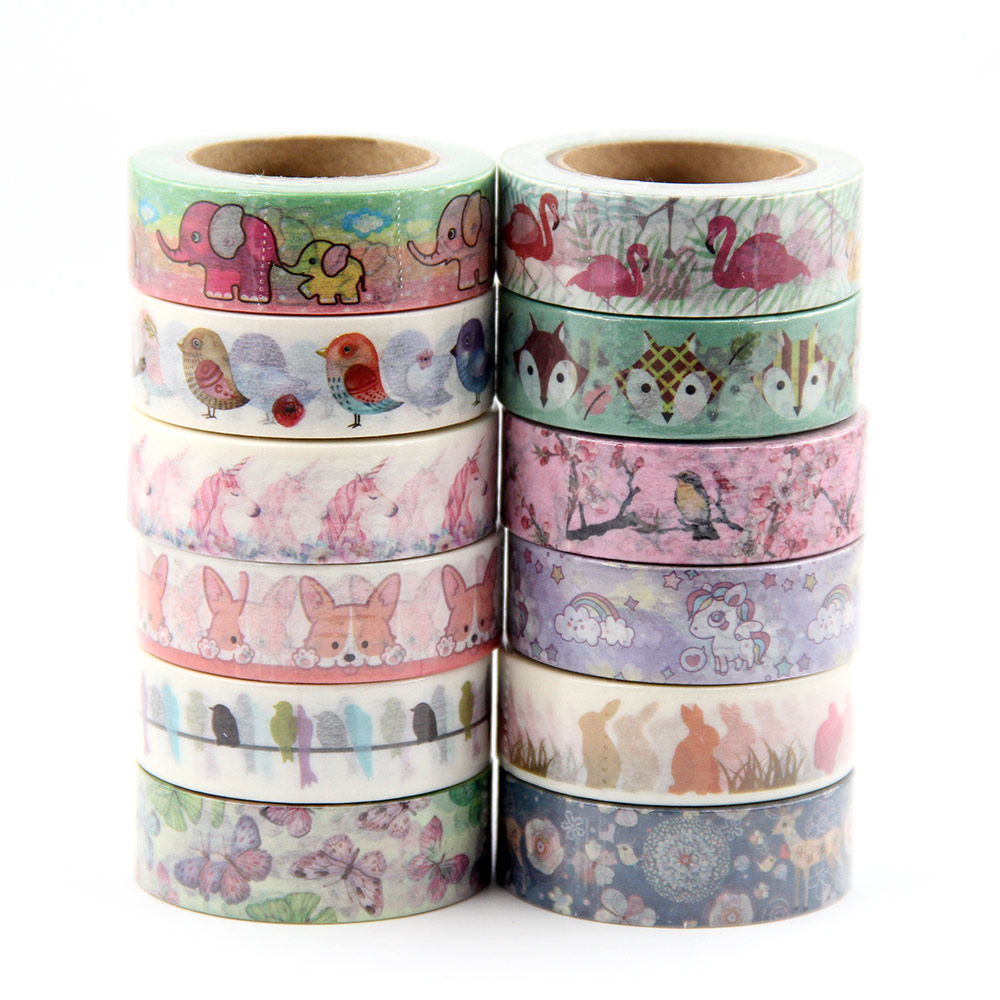 22 Top Sales  Elephant, Cats, Fox, Birds, Rabbits ,Unicorn Washi Tape Excellent Quality Cute Animal Washi Masking Tape 15mm*10m