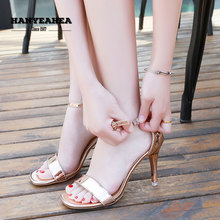 Solid Sandalias De Verano Para Muje Fashion Mature High Heels Sweet Elegane