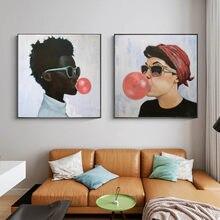 Lienzos de pintura impresos para hombre y mujer Póster Artístico de pared con burbujas Rojas, imágenes para comedor, decoración de pared artística moderna para el hogar
