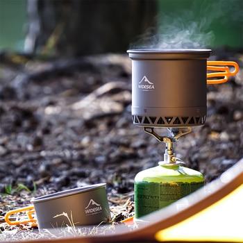 Widesea Camping Cookware Outdoor Cooking Set Heat  Cooker Travel Tableware Tourist Kitchen Pot Utensil Equipment 6