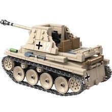 Ww2 militar 608 pçs modelo de tanque de doninha alemã bloco de construção auto-tanque arma soldado do exército tijolos conjuntos crianças brinquedos presentes