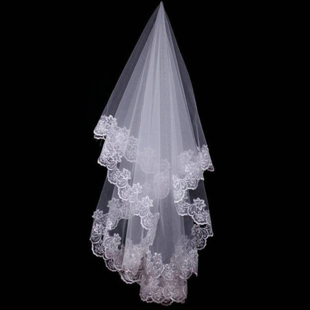 Bridal Veil Short Lace-Edge Ivory One-Layer Appliques White Hot