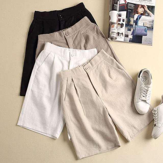 Plus Size Loose Women's Shorts Casual Cotton Linen Shorts Women 2020 Summer Solid Color High Waist Shorts Fashion Women Trousers 1