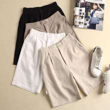Linen Shorts Loose High-Waist Cotton Plus-Size Summer Women Trousers Casual Solid