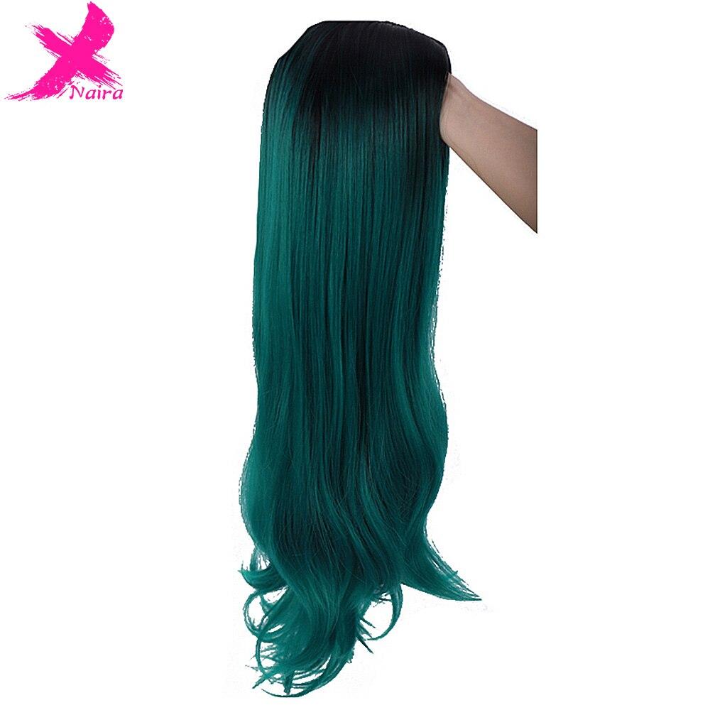 Afro longo ombre preto verde cosplay lolita peruca sem franja de alta temperatura fibra sintética rosa extensão do cabelo perucas para mulher
