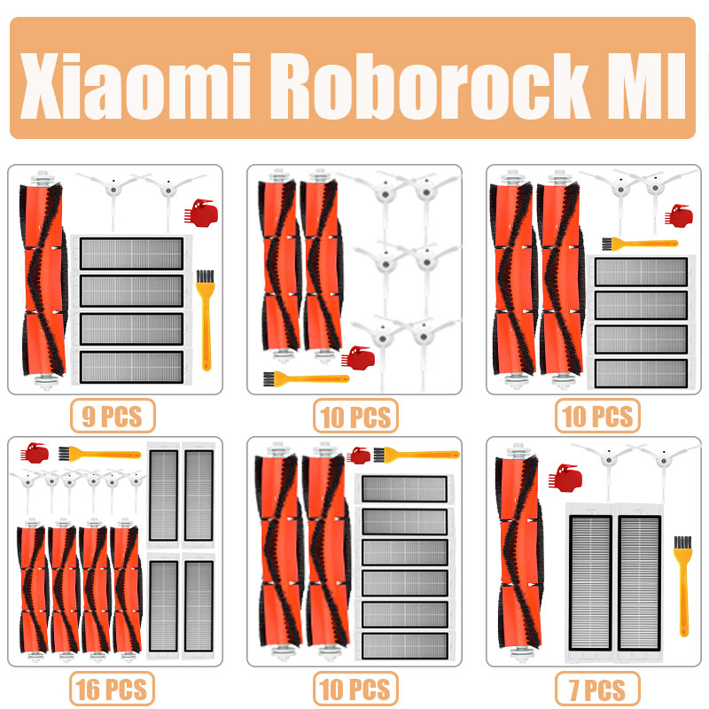 Accessories Kits for xiaomi Roborock S50 S51 E25 S5 E20 C10 Roborock Robot Vacuum Parts filter Side Brush Roll Brush