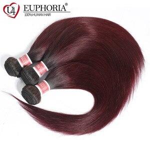 Image 3 - Ombre Color Straight Hair 3 Bundles 1B Burgundy 99J Red Color Brazilian Non Remy Human Hair Weaving 1/3/4 Pcs Bundles Euphoria