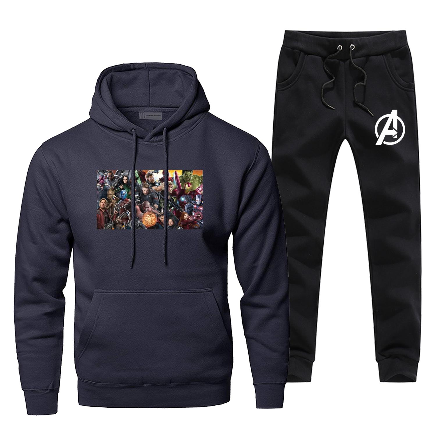 The Avengers Endgame Sportsman Wear Iron Man Super Hero Fashion Two Piece Sets End Game Casual Fitness Skateboard Warm Male Set