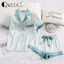 Śliczne damskie piżamy bielizna nocna dwuczęściowy zestaw jedwabiu Pijama satynowa koszulka z krótkim rękawkiem nocne garnitury Student piżama lato Homewear