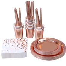 152 Pieces Rose Gold Bronzing Disposable Paper Cup Paper Tray Straw Paper Towel Cutlery Set Wedding Party Event Tableware Set towel set 2 pieces saheser towel set 2 pieces