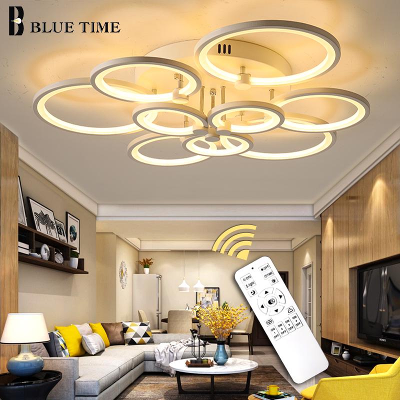 Luminaires Modern Led Ceiling Light White&Black Rings Led Chandelier Ceiling Lamp For Foyer Living Room Dining room Bedroom Lamp