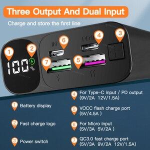 Image 3 - 20000 мАч Внешний аккумулятор 22,5 Вт Быстрая зарядка 3,0 5A повербанк внешний аккумулятор цифровой дисплей PD быстрая портативная Внешняя батарея супер быстрое зарядное устройство