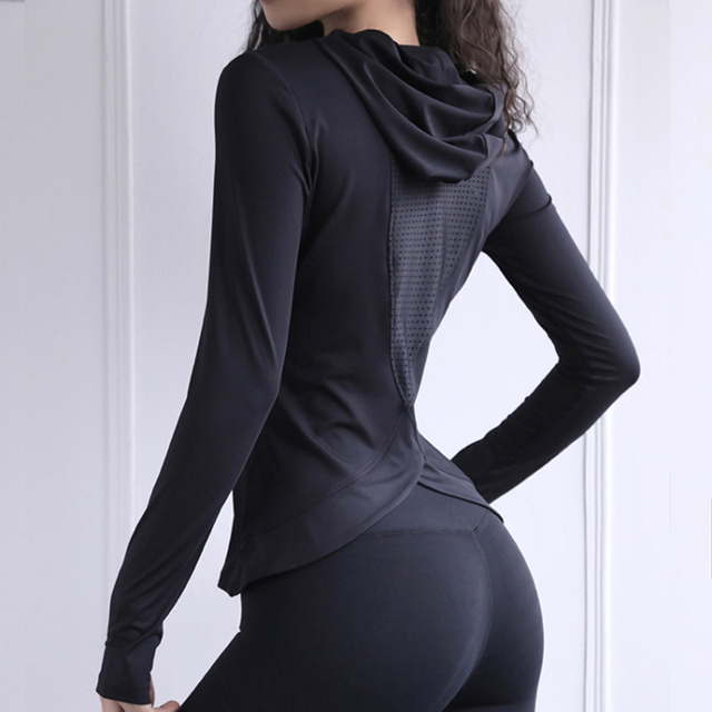 Women Back Forked Yoga Shirt Long Sleeve Thumb Hole Running T-shirt Mesh Breathable Sport Hoodies Fitness Top Gym Workout Blouse 4