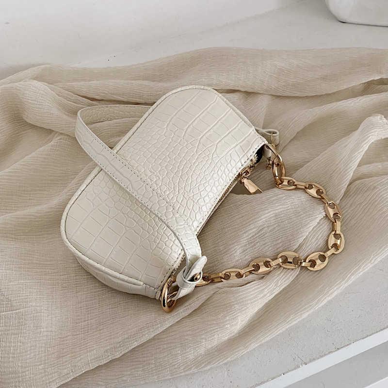 แฟชั่นรูปแบบจระเข้Baguetteกระเป๋าMINI PUกระเป๋าหนังกระเป๋าผู้หญิง 2020 Chain Design Luxuryกระเป๋ากระเป๋าเดินทางหญิง