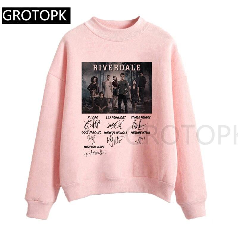 Riverdale Signature 90S Female Sweatershirt Streetwear Women Clothes 2019 Harajuku Top Graphic Tee White Pink Hoodie