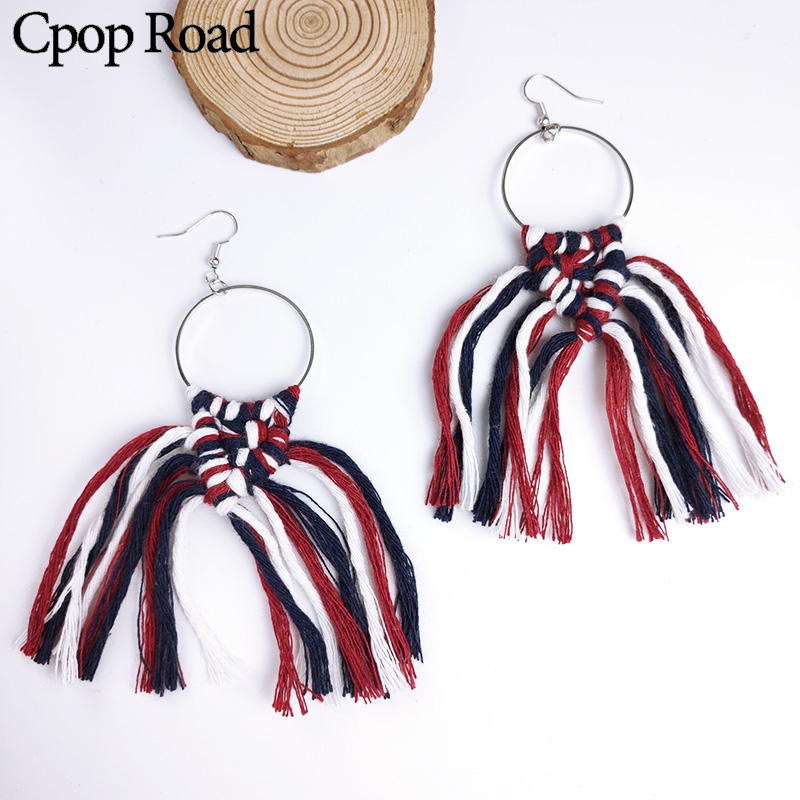 Cpop New Boho Colorful Handmade Weave Macrame Earring Ethnic Statement Tassel Earrings Fashion Jewelry Bridesmaid Accessories