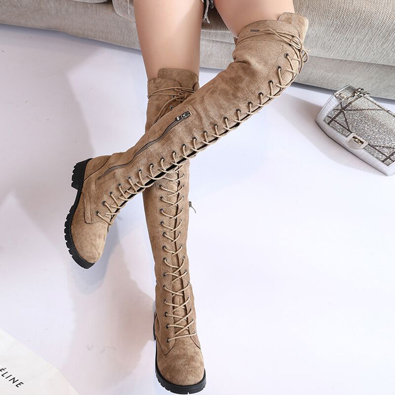 Shoe Women Over-The-Knee-Boots Lace-Up High-Boots Suede Female Sexy Plus-Size Winter title=