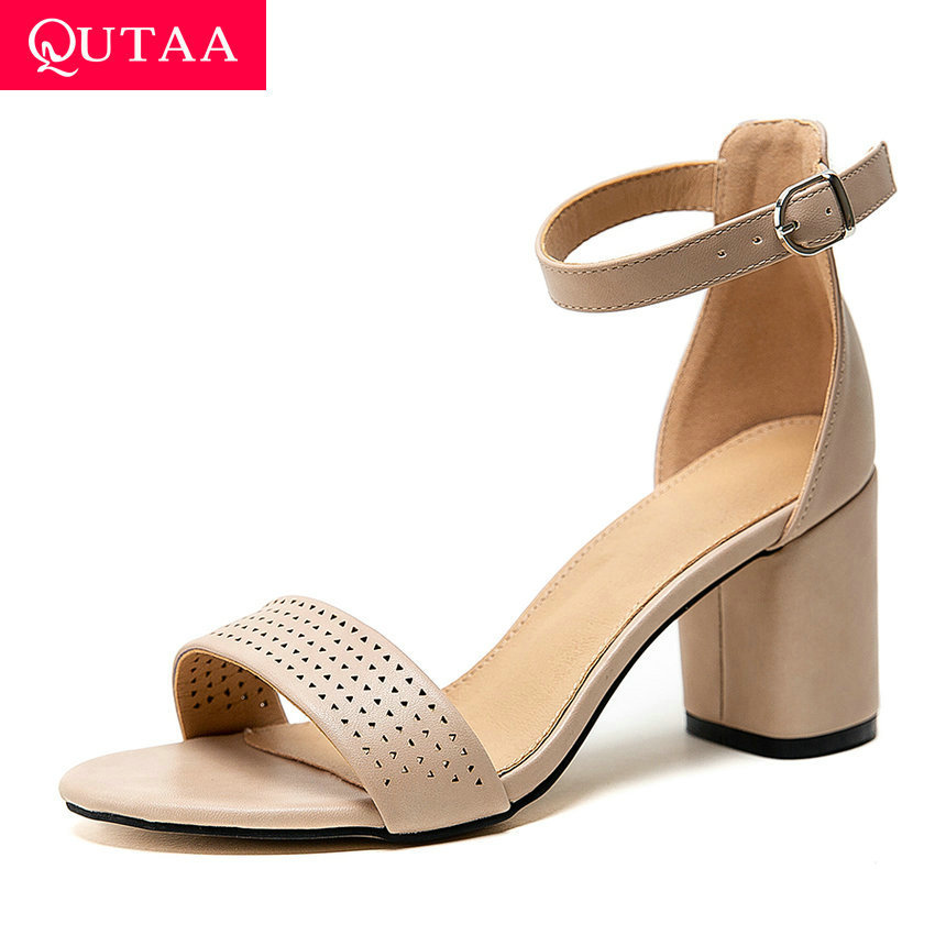 QUTAA 2020 Square High Heel All Match Sandals Summer PU Leather Buckle Women Shoes Open-toed Fashion Ladies Pumps Big Size 34-43