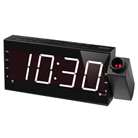 Fashion 7 inch Projection Alarm Clock for Bedrooms, Ceiling, Kitchen, Wall, Travel, Home FM Radio, 3 Dimmer, Dual Alarm, USB C