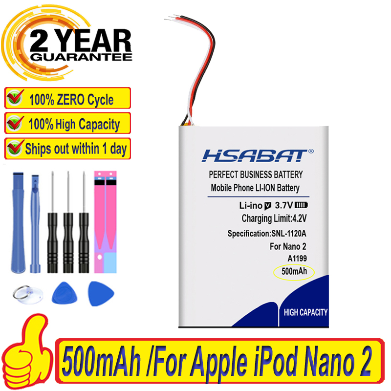 Top Brand 100% New 500mAh 616-0283 616-0287 Battery for Apple iPod Nano 2nd Generation 2 Gen Nano 2 2G 4GB A1199 Nano2 Batteries(China)