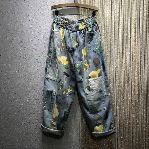 Village Do Old Denim Jenas Woman 2020 Spring New Elastic-Waist Loose Printed Patch Denim Harem Pants Boyfriend Jeans For Women