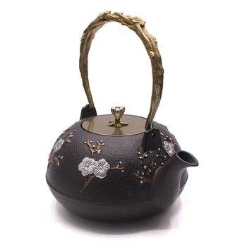 Cast Iron Kungfu Teapot Kettle Plum Flower About 1.2 L Vintage Japanese Tea KettleCollector's Item For Tea Aficionados