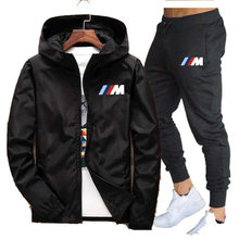 Nova marca conjuntos de primavera outono dos homens com zíper com capuz jaqueta + calças duas peças casual treino masculino roupas esportivas moda suor