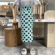 2021 Wave Point Color Matching Irregular High Waist Bag Hip Skirt Elegant Fashion Slim Skirt Three Buckle One-step Skirt