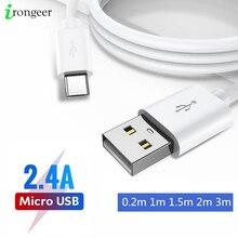 المصغّر USB كابل شحن سريع USB كابل بيانات لأجهزة سامسونج شاومي هواوي LG أقراص شاحن هاتف محمول يعمل بنظام تشغيل أندرويد شاحن يو اس بي 0.2 متر/1 متر/2 متر/3 متر
