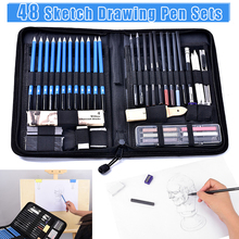 New 48Pcs/Set Professional Sketch Drawing Pencils Kit with Graphite Charcoal Pen DOM668