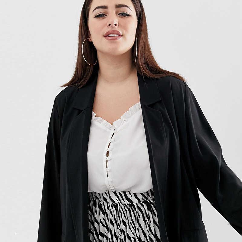 Kissmilk 2019 yeni moda sonbahar basit rahat büyük boy takım yaka uzun bölüm bölünmüş uzun kollu rüzgarlık ceket