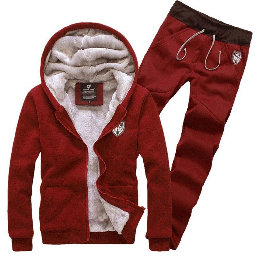 Thick Warm Tracksuits For Men Fashion Warm Velvet Men's Hoodie Set Male Sportwear Winter Grey Red Black 3XL Jacket Coat + Pants