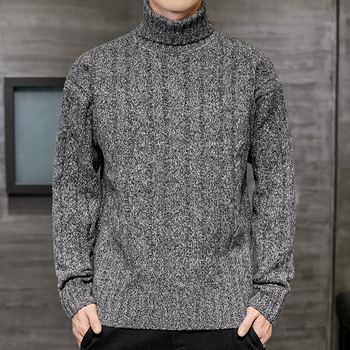 Mens Sweater Fashion Turtleneck Autumn Winter Solid Knitted Pullovers Men Causal Clothes