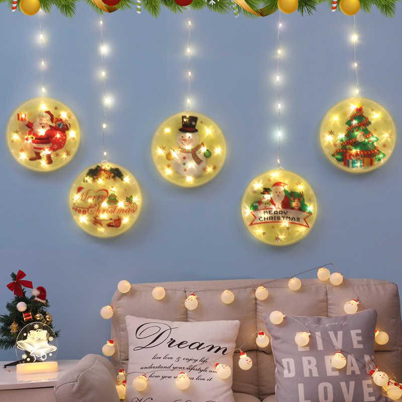 Светодиодная гирлянда, аксессуары для украшения комнаты, Рождественский подвесной светсветильник льник с USB-разъемом, праздничная лампа, рождественские светодиодные лампы для дома