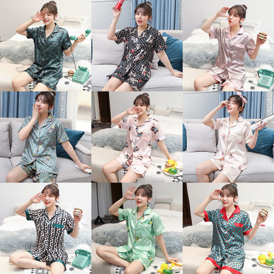 Summer Printed Sexy Ice Silk Pajamas Set & Short Sleeved Cartoon Cute Sleepwear Set & Turn Down Collar Letters Nightwear Set