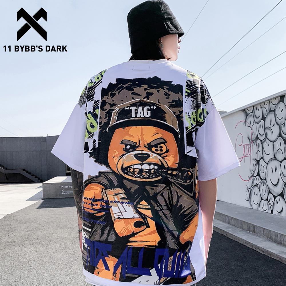 11 BYBB'S DARK Hip Hop T Shirt Men 2020 Harajuku Streetwear Ferocious Bear Print Patchwork Tops Casual Cotton Short Sleeve Tees