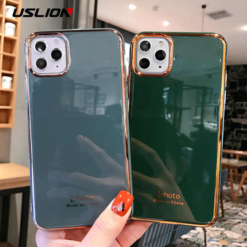 Uslion Mạ Điện Đồng Màu Ốp Lưng Điện Thoại Iphone 11 Pro Max X XS XR XS Max 6 6S 7 8 Plus TPU Dẻo Silicone Trường Hợp Bao