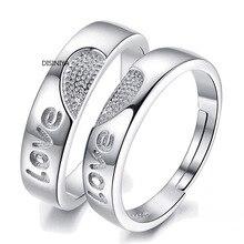 DISINIYA Fashion Cheap Couple Ring Silver Adjustable Diamond Women's Ring + Men's Ring Wedding Couple Ring Jewelry
