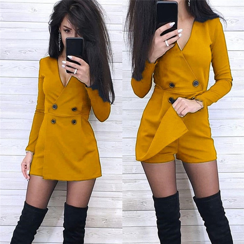 Solid V-neck Long Sleeve Women's Playsuit Front Split Double-breasted Wide Leg Short Jumpsuit Women Summer Skinny Casual Romper