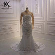 Vestido boda عالية الرقبة كم طويل كريستال حورية البحر فستان بأكمام طويلة