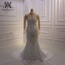 Vestido de novia de sirena de cristal de manga larga con cuello alto