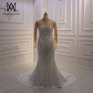 Image 1 - vestido boda High Neck Long Sleeve Crystal Mermaid Wedding Dress Long Sleeves