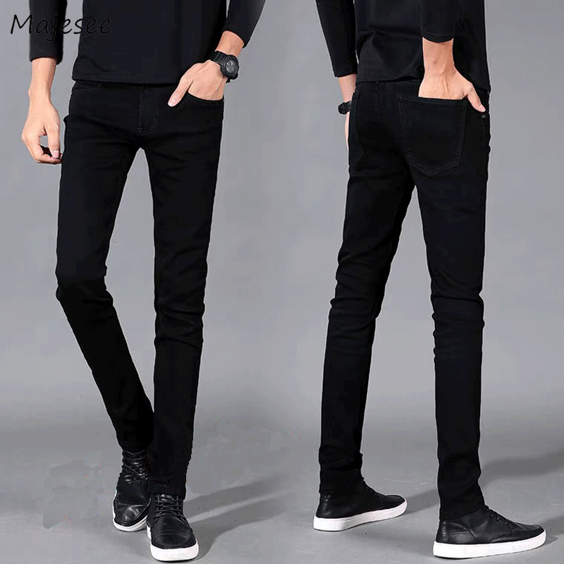 Jeans Men Spring Autumn New Arrival Slim Tight Flexibility Jean Cowboy Black Male Mens Thick Casual Long Trousers High Quality