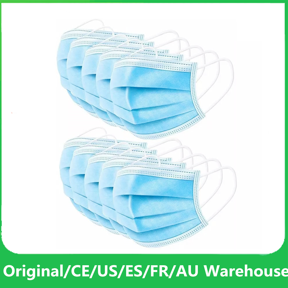 50Pcs Disposable Mask Mascherine Blue White Masque Anti Dust 3 Layers Nose Face Mouth Protective Masks Earloop Non-woven Mask