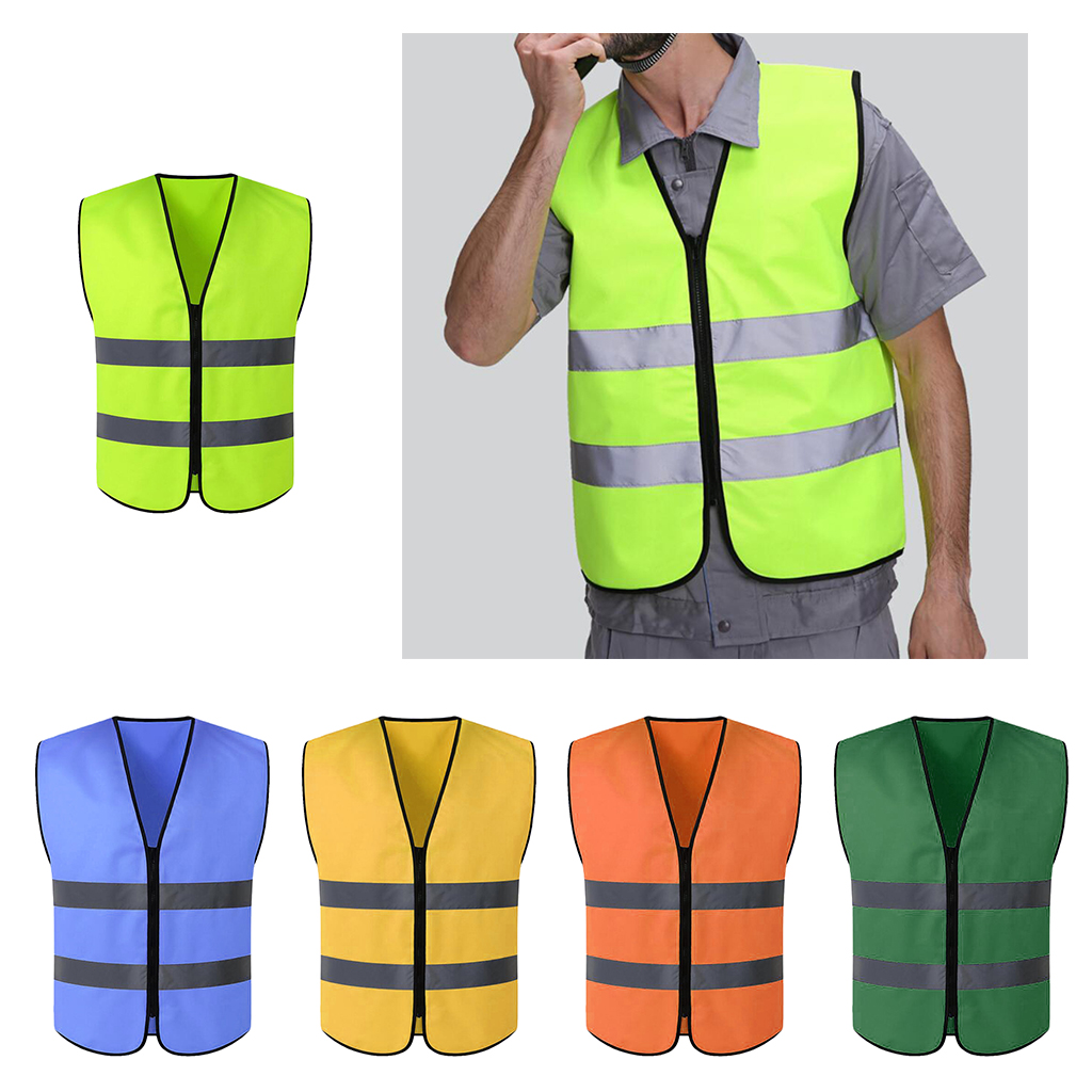 High Visibility Zipper Front Safety Vest With Reflective Strips, Premium, 5 Colors Optional